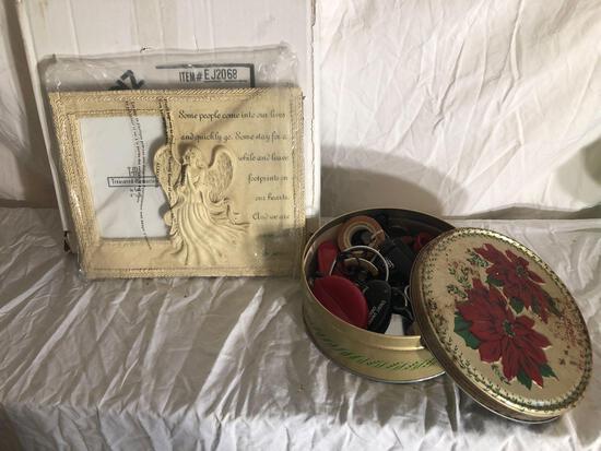 Angel Theme Frame With Vintage Tin