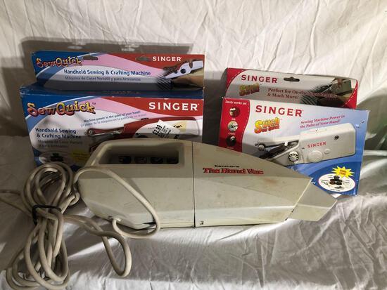 Singer Handheld Sewing Machines (2) and Handy Vac