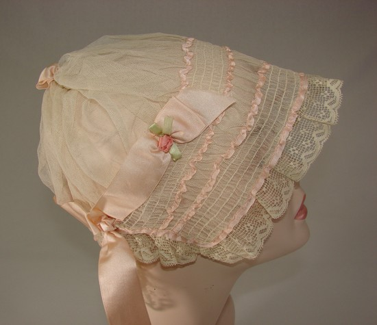 Vintage Ladies 1920s Lace And Silk Boudoir Cap