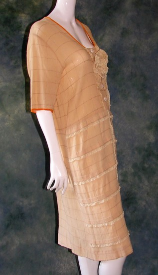 Vintage 1920s Ladies Tan Textured Crepe Drop Waist Dress With Large Fabric Rosette