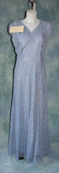 Vintage Ladies 1920s Long Blue Lace Evening Gown And Gloves