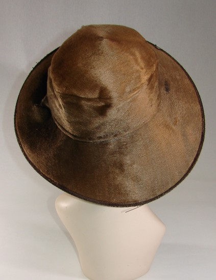 Edwardian Ladies Bronze Fur And Velvet Wide Brimmed Hat