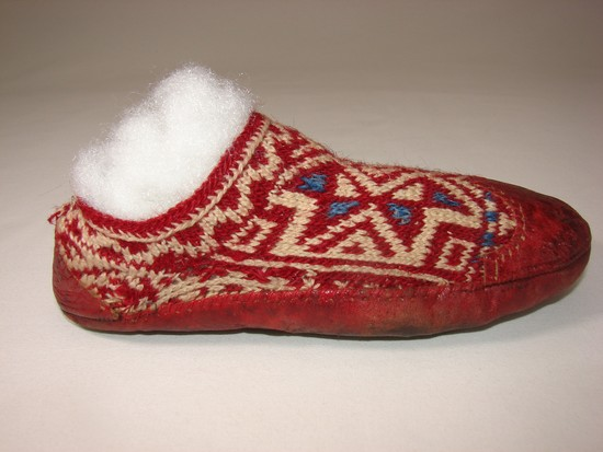 Vintage Ladies 1930s Scandinavian Red Leather And Wool Moccasins