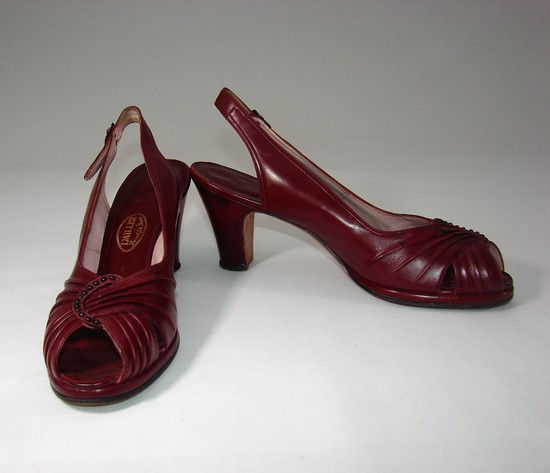 Vintage Ladies 1930s Shoes Oxblood Peep Toe By I. Miller Salon Chicago
