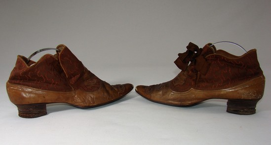 Ladies Edwardian Leather And Brown Silk Kitten Heel Shoes