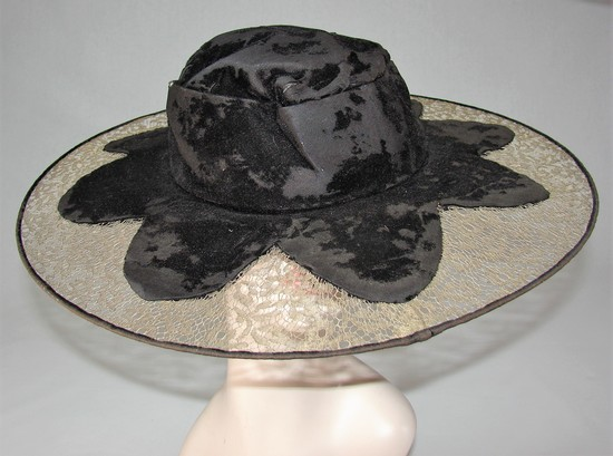 Edwardian Ladies Black Velvet And Gold Silk Lace Wide Brimmed Hat