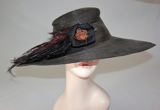 Edwardian Ladies Black Wide Brimmed Hat With Flower And Feathers