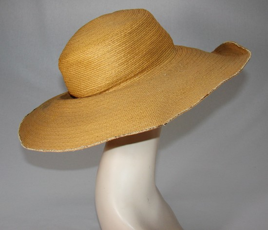 Edwardian Ladies Natural Straw Wide Brimmed Hat
