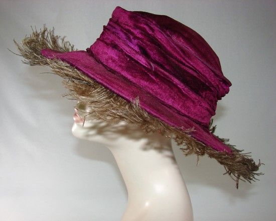 Edwardian Ladies Purple Velvet And Marabou Feather Wide Brimmed Hat