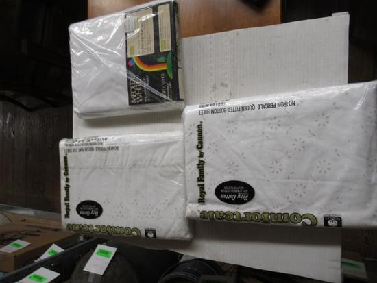 2 Queen Size Flat Top Sheets and 1 Queen Size Fitted Sheet