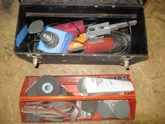 Tool Box w/ Sanders, Grinder, Cut Off Tool and more NO SHIPPING