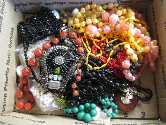 Vintage Beaded Jewelry - 2 necklace/earring sets, 1 rosary, vintage purse and more