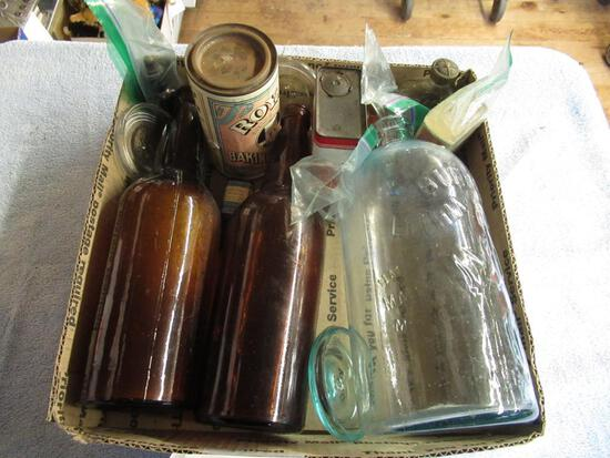 "Vintage Bottles, Cans, Glass Jar Lids (4), Entire Basket Clear Bottle 10"" tall.NO SHIPPING"