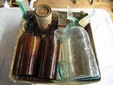 Vintage Bottles, Cans, Glass Jar Lids (4), Entire Basket Clear Bottle 10