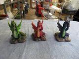 3 Dragon Figurines . NO SHIPPING