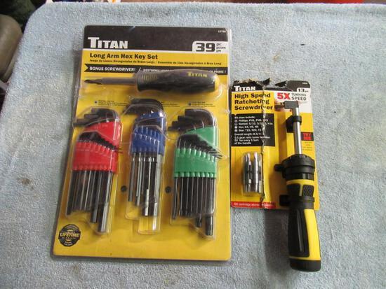 Titan Hex Key and Ratcheting Screwdriver Set