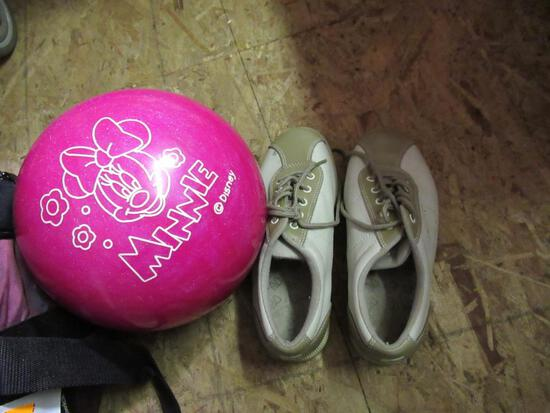 Bowling Ball w/ Bag and Shoes sz 6.5