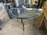 Metal Half Round Glass Top Entry Table 35x18x30 NO SHIPPING