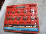 New 15pc Crowfoot Wrench Set