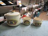 Old Farmer's Almanac Bean Pot & Bowls 3pc Set NO SHIPPING