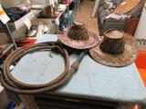 Leather Whip 11ft and Hats