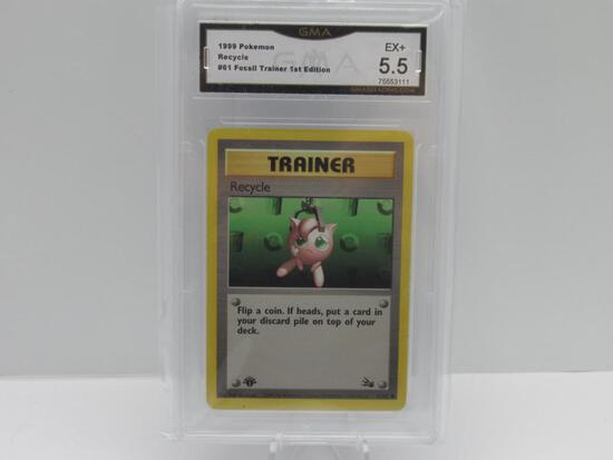 GMA GRADED 1999 POKEMON FOSSIL TRAINER 1ST EDITION RECYCLE #61 - EX+ 5.5