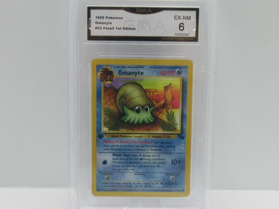 GMA GRADED 1999 POKEMON FOSSIL 1ST EDITION OMANYTE #52 - EX NM 6