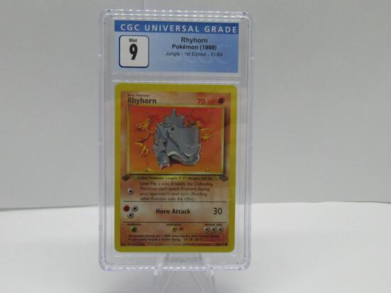 CGC MINT 9 - Jungle 1st Edition Pokemon Card - Rhyhorn 61/64