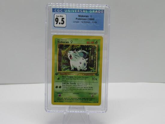 CGC GEM MINT 9.5 - Jungle 1st Edition Pokemon Card - Nidoran 57/64