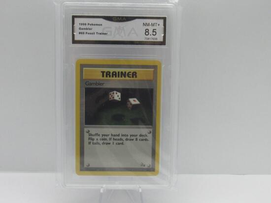 GMA GRADED 1999 POKEMON FOSSIL TRAINER GAMBLER #60 - NM MT+ 8.5