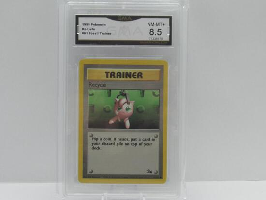 GMA GRADED 1999 POKEMON FOSSIL TRAINER RECYCLE #61 - NM MT+ 8.5
