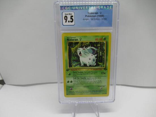 CGC Graded Pokemon Jungle 1st Edition GEM MINT 9.5 - Nidoran 57/64