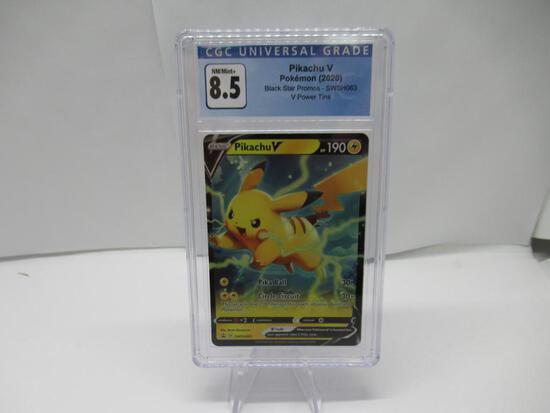 CGC Graded Pokemon VIVID VOLTAGE Black Star Promo NM/MINT+ 8.5 - PIKACHU V SWSH063