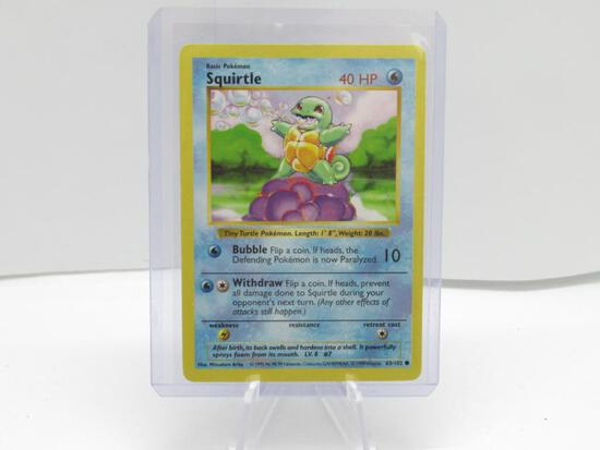 Base Set Unlimited SHADOWLESS Pokemon Card - SQUIRTLE 63/102