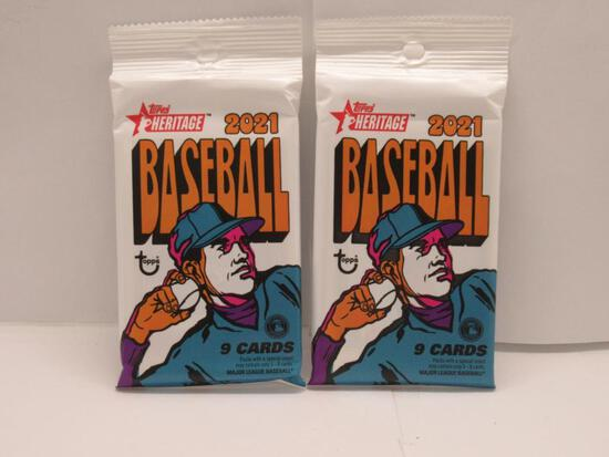 2 Count Lot of Factory Sealed 2021 Topps HERITAGE Baseball 9 Card Packs
