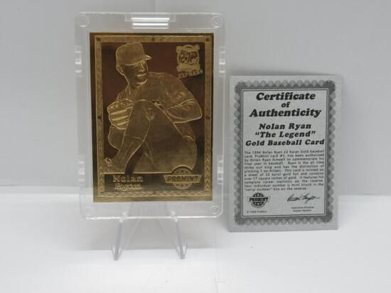 1994 PROMINT 22 KARAT GOLD THE LEGEND NOLAN RYAN CARD SERIAL #091301 WITH COA