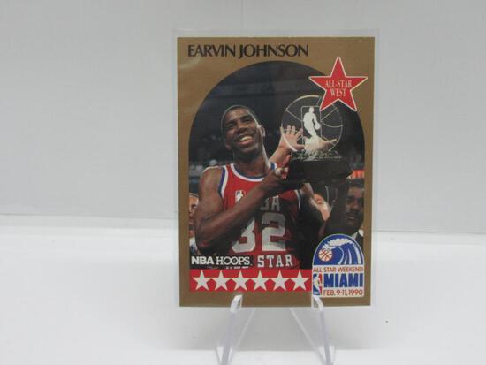 1990-91 NBA HOOPS SET BREAK LOS ANGELES LAKERS EARVIN 'MAGIC' JOHNSON CARD #18