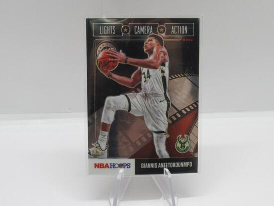 2020-21 PANINI NBA HOOPS LIGHT CAMERA ACTION MILWAUKEE BUCKS GIANNIS ANTETOKOUNMPO CARD #19