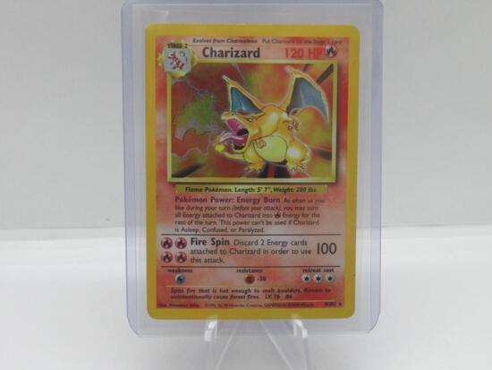 Base Set Charizard HOLO Pokemon card green wings charizard great for collection!!!