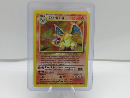 1999 Pokemon Base Set Unlimited #4 CHARIZARD Holofoil Rare Trading Card from Cool Collection