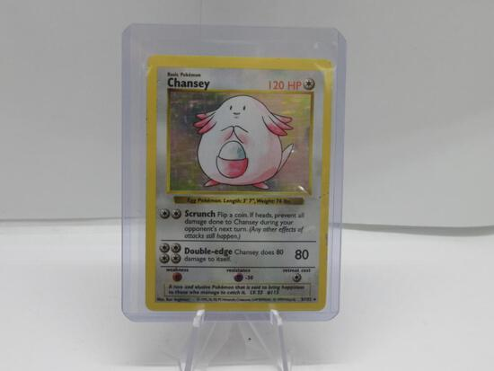 1999 Pokemon Base Set Shadowless #3 CHANSEY Holofoil Rare Trading Card from Cool Collection