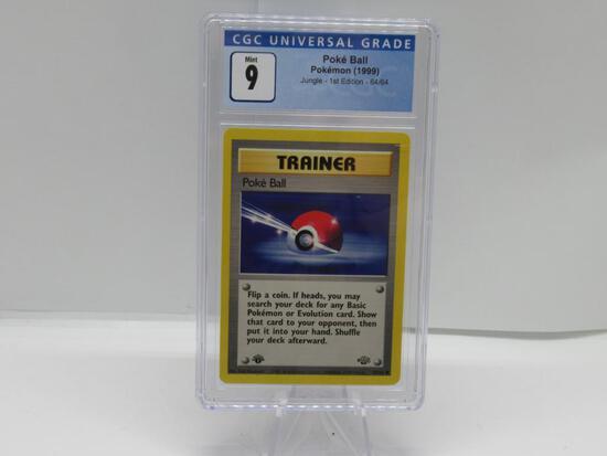 CGC Graded Pokemon JUNGLE 1st Edition MINT 9 - POKE BALL 64/64