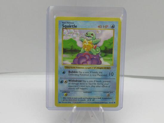 1999 Pokemon Base Set Shadowless #63 SQUIRTLE Starter Trading Card from Cool Collection