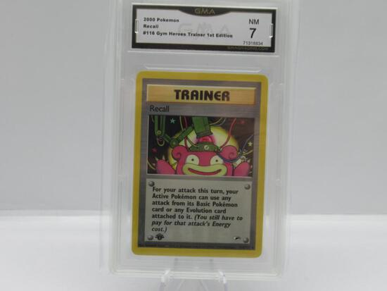 GMA GRADED POKEMON 2000 RECALL #116 GYM HEROES TRAINER 1ST EDITION NM 7
