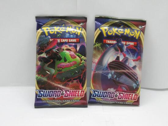 2 Pack Lot of Factory Sealed Pokemon SWORD & SHIELD Base 10 Card Booster Packs