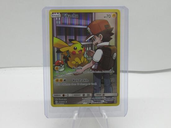 Pokemon Card Pikachu & Ash Full Art Secret Rare Cosmic Eclipse