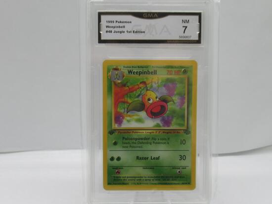 GMA GRADED POKEMON 1999 WEEPINBELL #48 JUNGLE 1ST EDITION NM 7