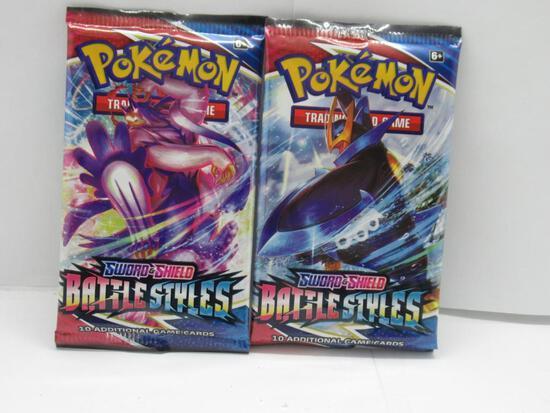 Lot of 2 Factory Sealed 10 Card Sword & Shield Battle Styles Pokemon Booster Packs