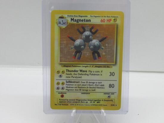 1999 Pokemon Base Set Unlimited #9 MAGNETON Holofoil Rare Trading Card from Collection