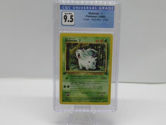 CGC Graded 1999 Pokemon Jungle 1st Edition #57 NIDORAN Trading Card - GEM MINT 9.5
